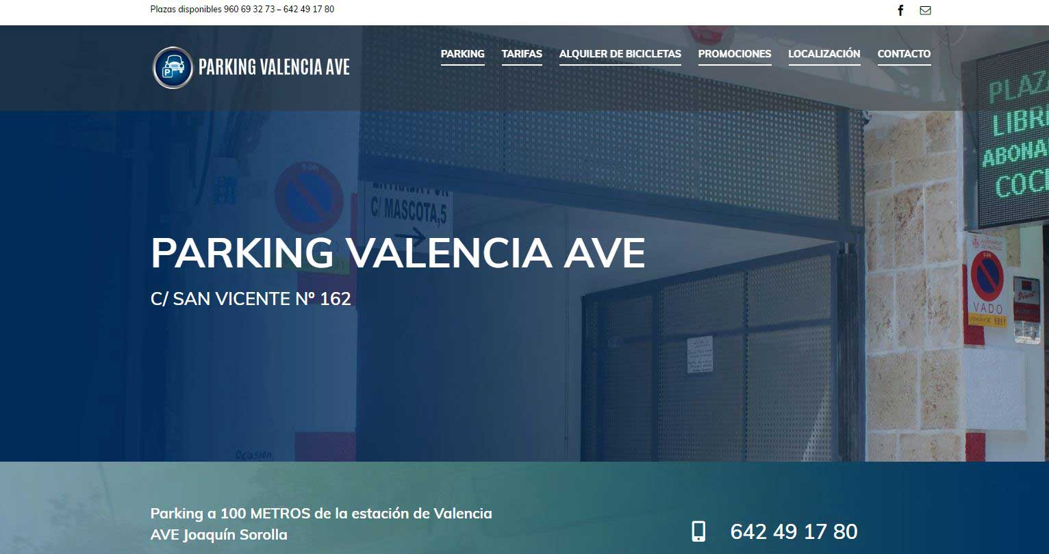 Parking Valencia AVE diseño web